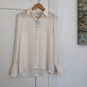 NEW Express White Blouse with Ruffle Sleeves - XS